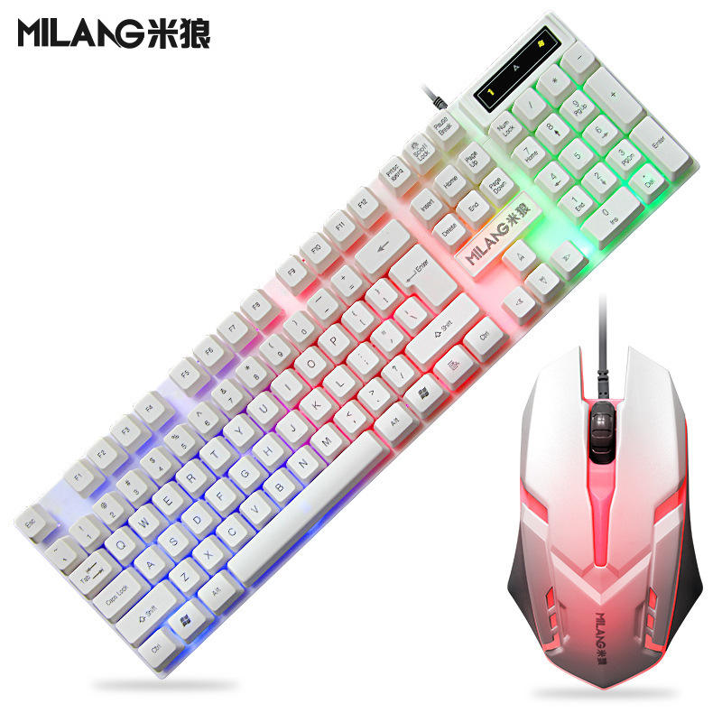 T6 wired usb colorful luminous keyboard and mouse set computer game manipulator backlit keyboard and