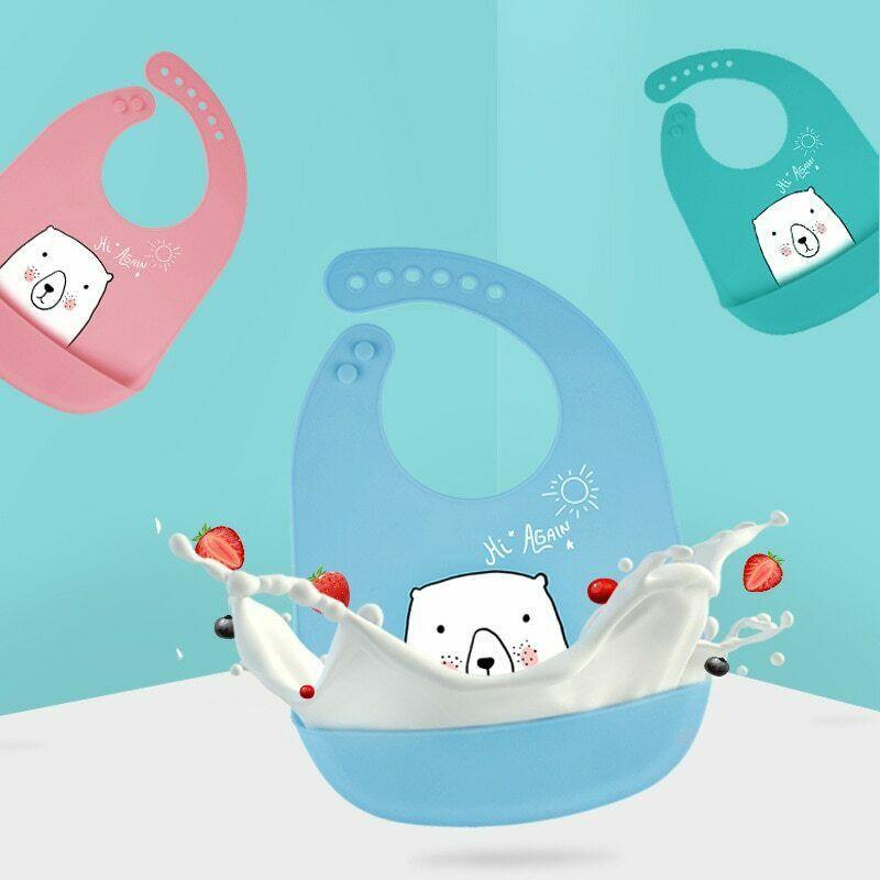 Silicone Baby đang ăn Bib 3-Bằng chứng, siêu túi thức ăn mềm cho trẻ em và trẻ em