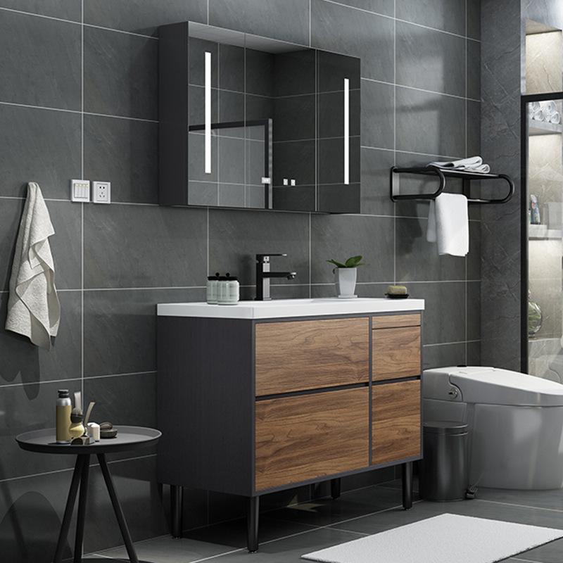 BIXUAN Nordic modern minimalist smart mirror solid wood bathroom cabinet combination floor bathroom