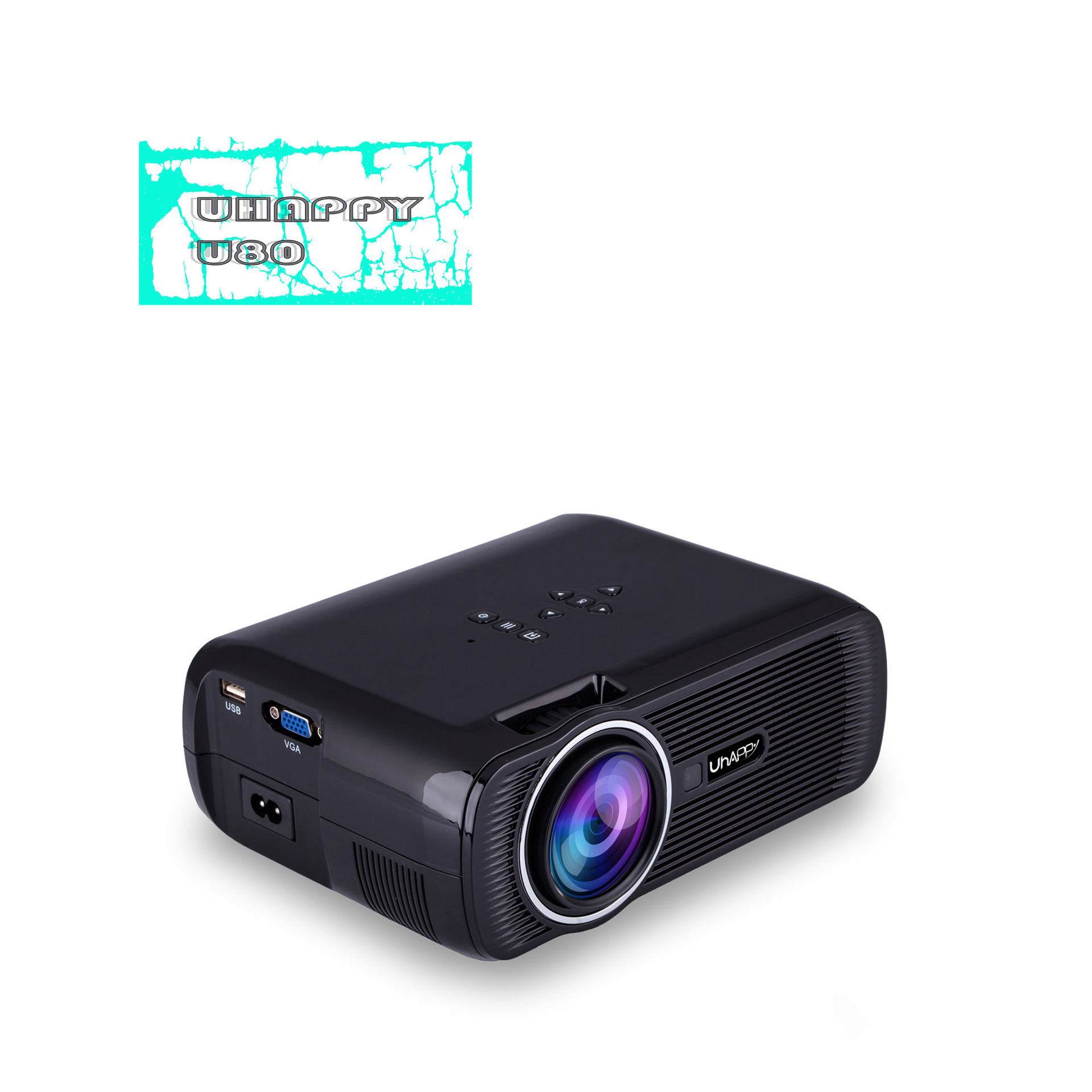 UHAPPY U80mini mini projector with screen home Apple mobile phone projector home LCD projector