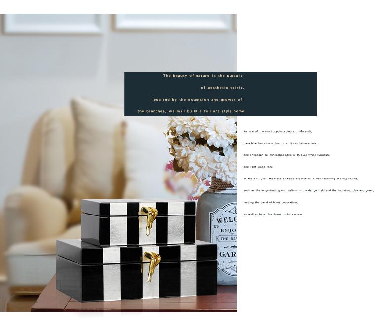 Mô hình phòng nhỏ màu đen và trắng với hộp trang trí kim loại trang trí đồ trang trí phòng ngủ đồ tr