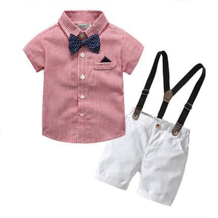 Áo Sơ-mi trẻ em  Trẻ em mùa hè phù hợp với bé trai Phong cách Anh thắt nơ trang phục phù hợp với bé