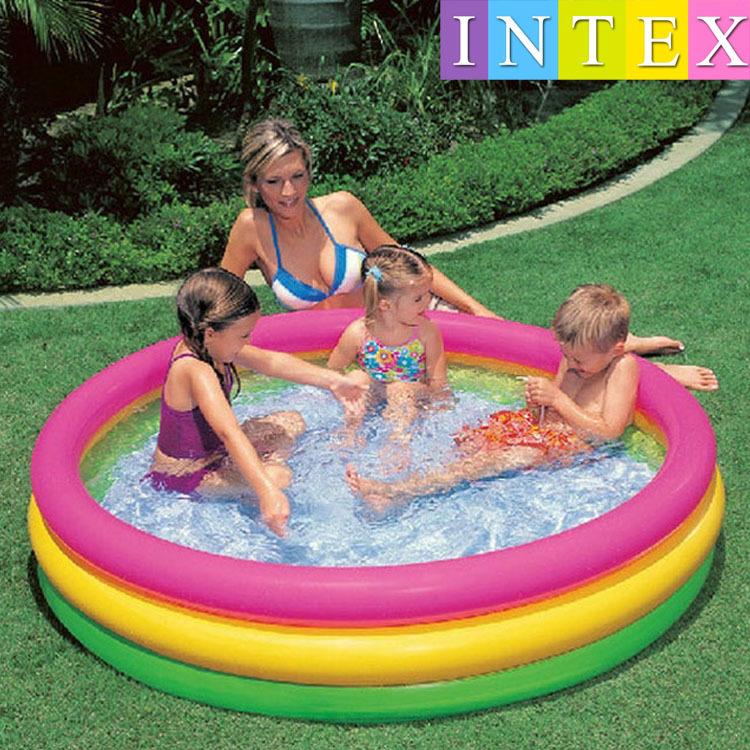 INTEX bể bơi trẻ sơ sinh chính hãng 57422 huỳnh quang bể bơi bơm hơi ba vòng bé chơi