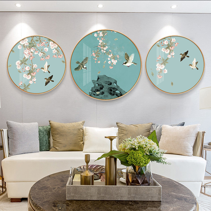 RUISE Swiss color Nordic background wall modern minimalist new Chinese round decorative painting por