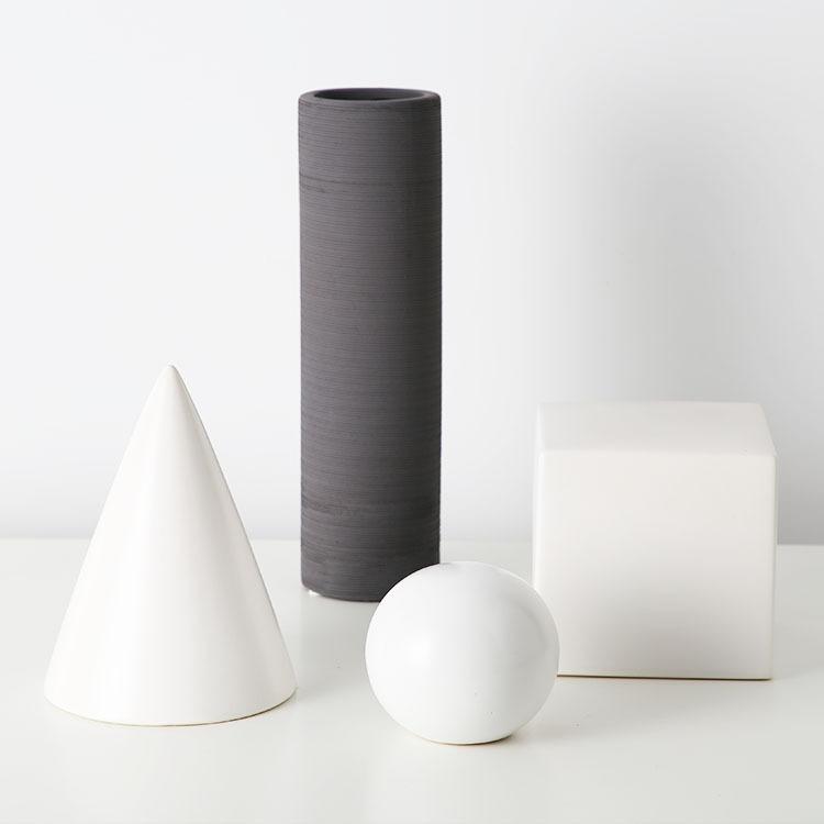 Đồ trang trí bằng gốm sứ Đồ trang trí gốm hình học màu trắng, giá sách mô hình phòng màu trắng mờ, t