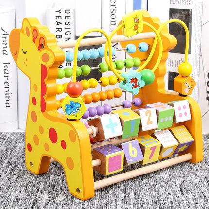 Đồ chơi bằng gỗ  Giáo dục mầm non khai sáng giáo dục đồ chơi bằng gỗ đa năng bé 1-3 tuổi vòng hạt tí