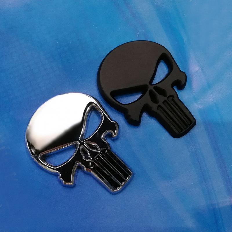 Đề can xe hơi Nhãn dán trang trí cá tính Xe trừng phạt Logo xe dán Hộp sọ dán kim loại sửa đổi cơ th