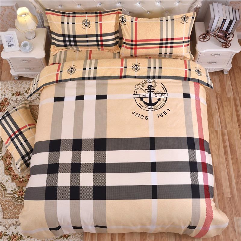 Bộ drap giường Bông giả cotton nguyên chất chải bông phiên bản lớn Bộ hoa bốn mảnh Phiên bản AB dày