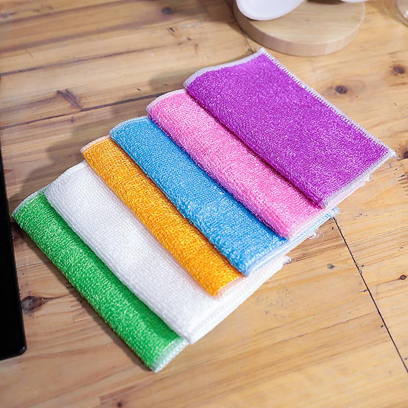 SENCI Bamboo fiber dish towel non-stick oil double rag bamboo charcoal degreasing dish cloth thicken