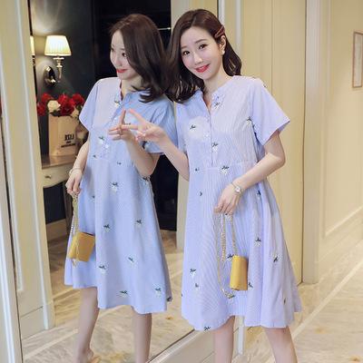 Trang phục bầu Váy hè mới 2018 cho bà bầu sọc thêu giữa chiều dài cỡ lớn cho bà bầu