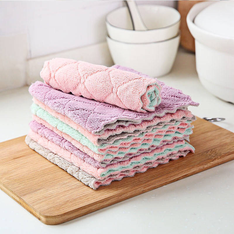 JJCC New kitchen cleaning cloth coral velvet rag thick absorbent water dish towel wet and dry dual-u