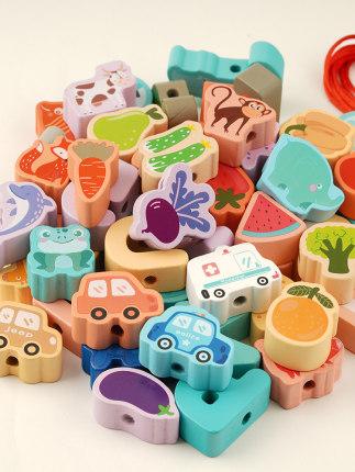 Đồ chơi bằng gỗ  Lớn hạt trẻ em đồ chơi giáo dục đính hạt khối xây dựng dây rút nam và nữ trẻ em 1-2
