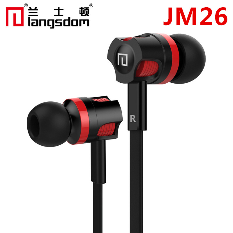 Langsdom JM26 noodle line heavy bass Apple mobile phone MP3 wire-controlled universal in-ear headpho