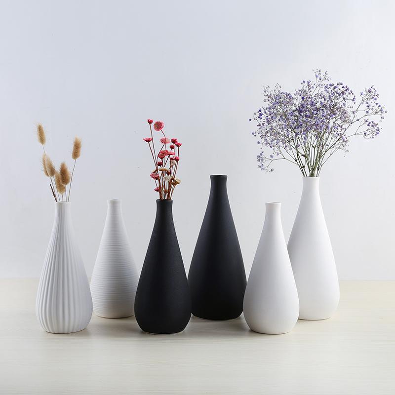 MENGMEIQI Đồ trang trí bằng gốm sứ Bình gốm hiện đại đơn giản Bình trắng Bắc Âu trang trí thủ công T