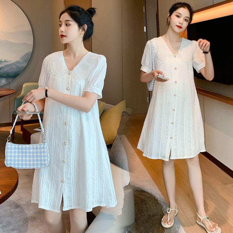 Trang phục bầu Váy bà bầu mùa hè 2020 đầm mới của phụ nữ nhỏ nước hoa gió búp bê cổ áo