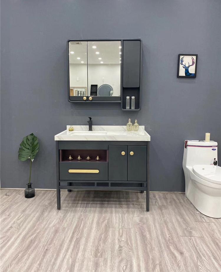 DIDUWANG 2020 new bathroom cabinet Nordic light luxury wind red oak bathroom cabinet wash basin cabi
