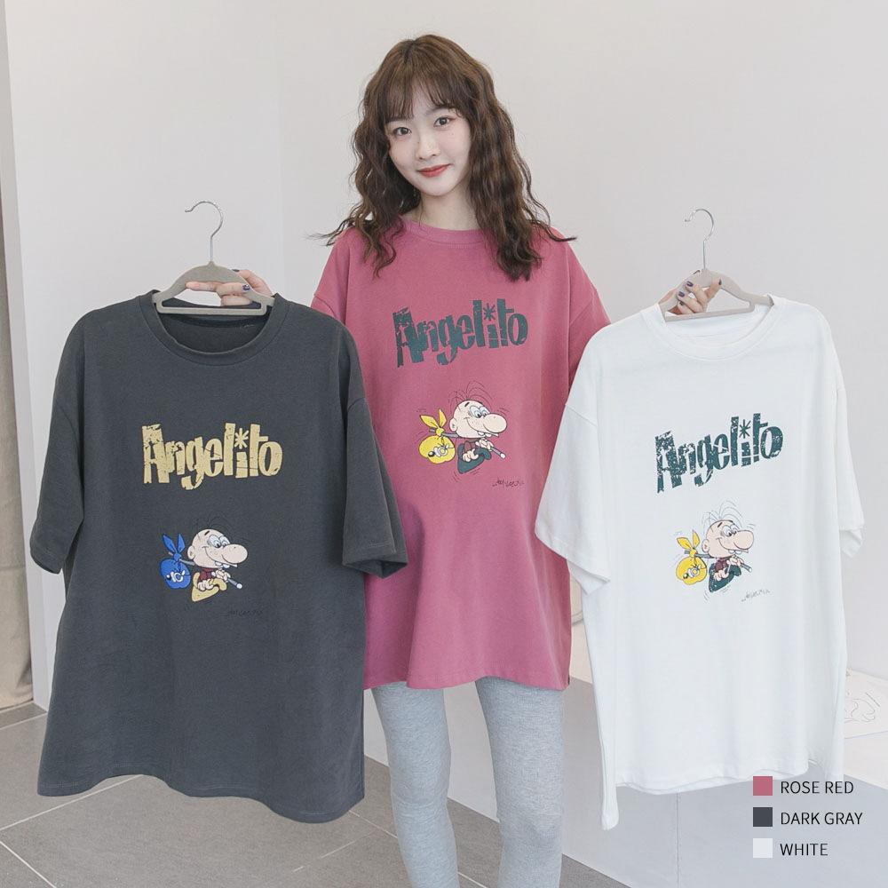 PANDI Trang phục bầu Mùa xuân và mùa thu bà bầu thời trang phim hoạt hình in áo len rộng kích thước