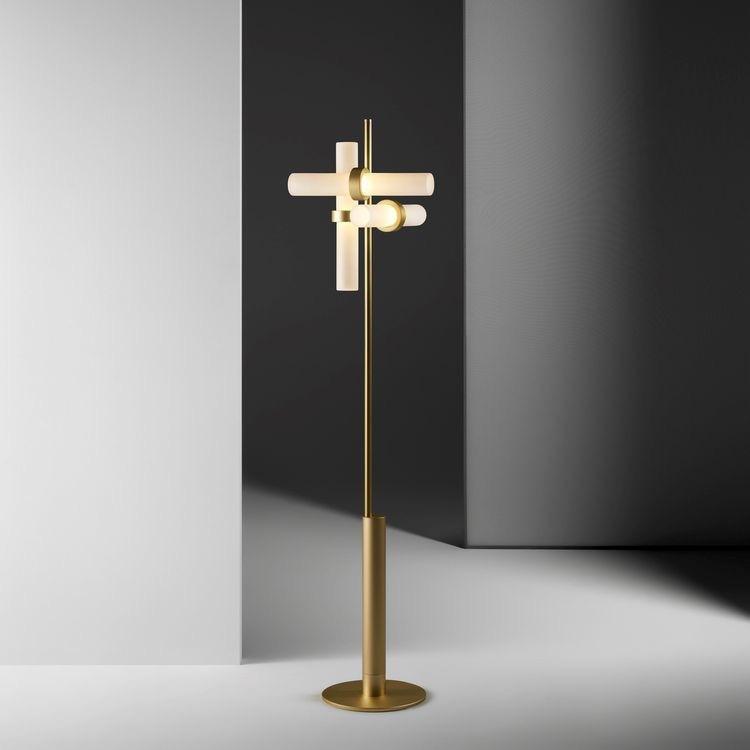 NIHE Nordic retro postmodern bronze high-end floor lamp simple living room LED bedroom vertical crea