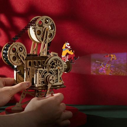 Tranh xếp hình 3D Ruotai Ruoke Máy chiếu cổ điển tự làm bằng tay mô hình truyền động cơ khí bằng gỗ