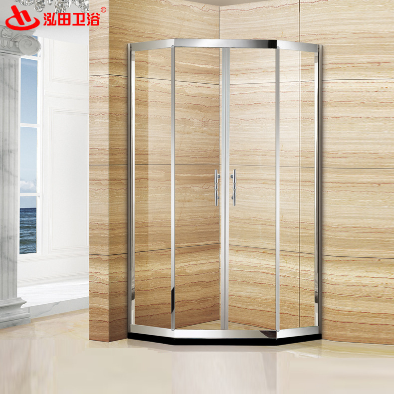 Hotel shower room Stainless steel simple bathroom Household tempered glass shower room