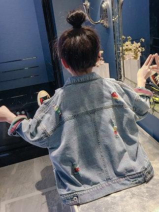 Trang phục Jean trẻ em  Cô gái xé áo khoác denim mùa thu 2020 mới mùa xuân và mùa thu cô gái dễ thươ