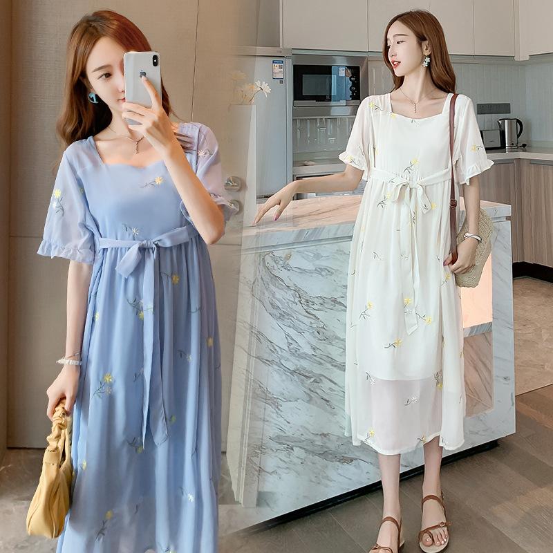 Trang phục bầu Váy dành cho bà bầu mùa hè 2020 Thời trang mới thêu voan dài Váy hàn quốc Váy ngắn ch