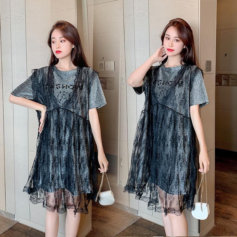 BIAIWEI Trang phục bầu Phiên bản Hàn Quốc của shot thật 2020 mẫu váy đỏ bà bầu mùa hè mới cỡ lớn nữ