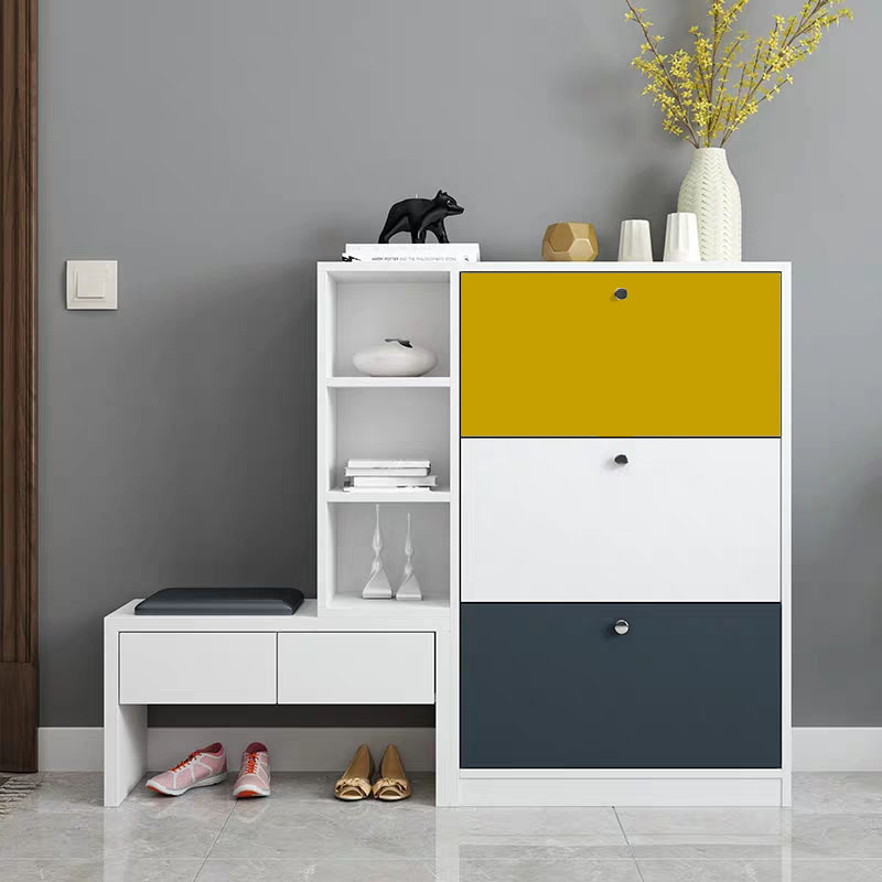 Modern ultra-thin tipping shoe cabinet white multifunctional home space saving Nordic minimalist bal