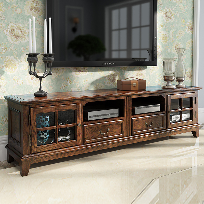 LESHANTING American TV cabinet solid wood combination small apartment red oak old rural furniture li