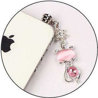 YONGSHENG 3.5mm mobile phone dust plug, earphone diamond rhinestone dust plug wholesale, opal cat du