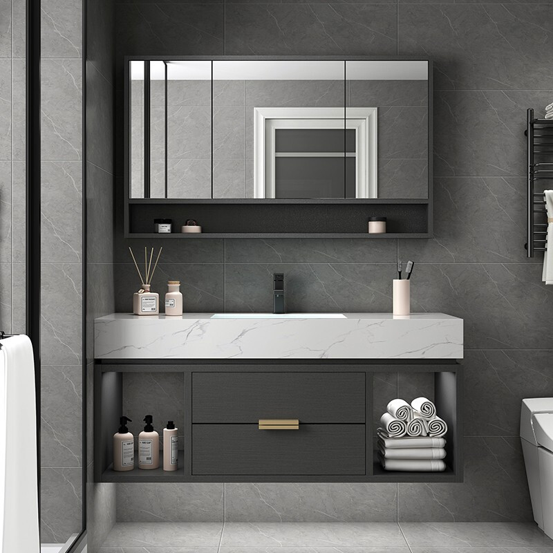 LIZHENG Marble bathroom cabinet combination Nordic solid wood washbasin toilet washbasin