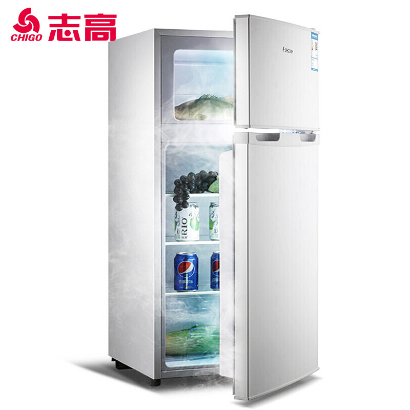 CHIGO Double door mini refrigerator, household dormitory refrigerating and freezing refrigerator