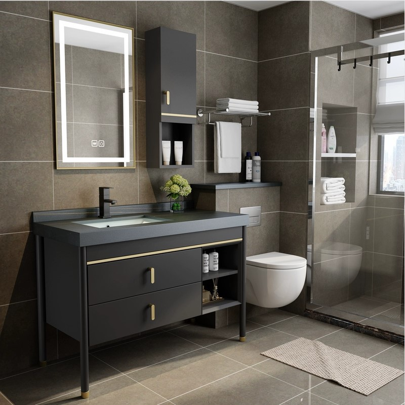 FENGJIANG Slate solid wood bathroom cabinet combination light luxury modern minimalist smart mirror