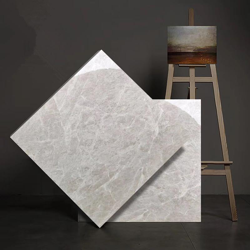 Factory direct 800×800 simple European gray floor tiles full body marble tiles living room non-slip