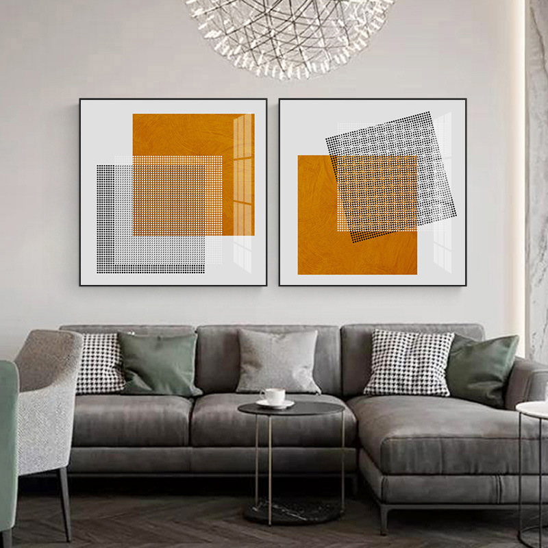 Modern abstract orange square geometric style decorative painting living room sofa background wall h