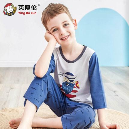 Inboron Đồ ngủ trẻ em Bộ đồ ngủ trẻ em Inboron, bộ đồ điều hòa mỏng mùa hè bằng cotton, bé trai, bé