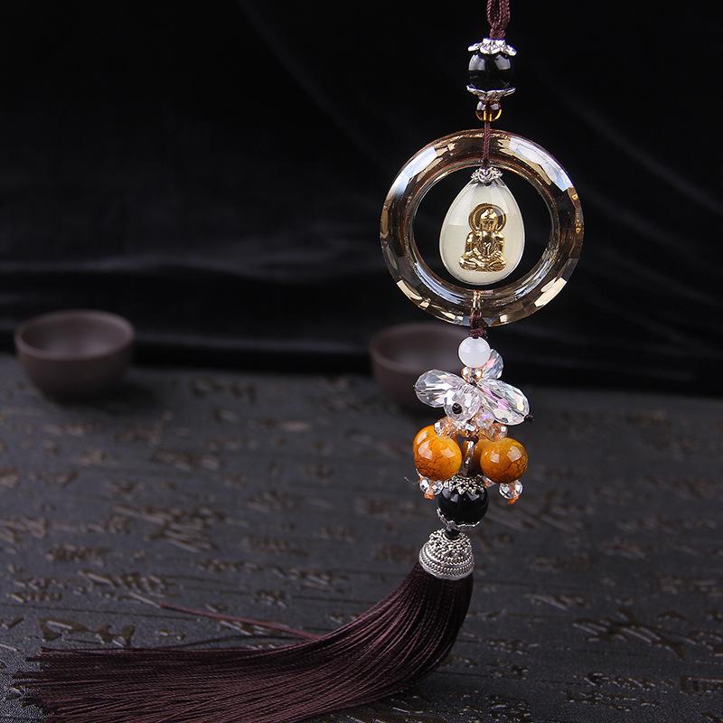 HUANHAI Đồ trang trí móc treo Phiên bản nâng cấp phát sáng của mặt dây chuyền xe Guanyin mới cung cấ