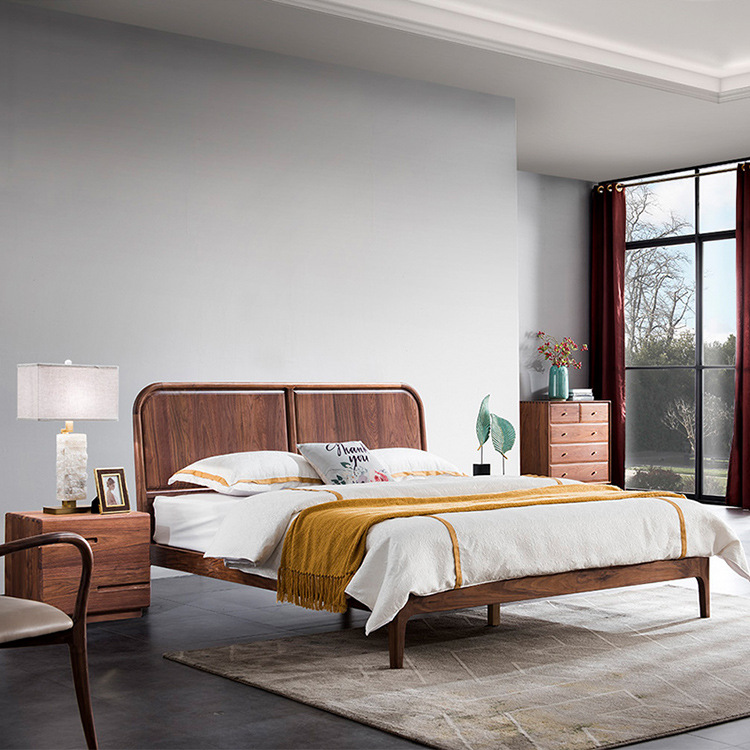 HOPCOM North American black walnut single double bed Nordic modern minimalist home solid wood bed ma
