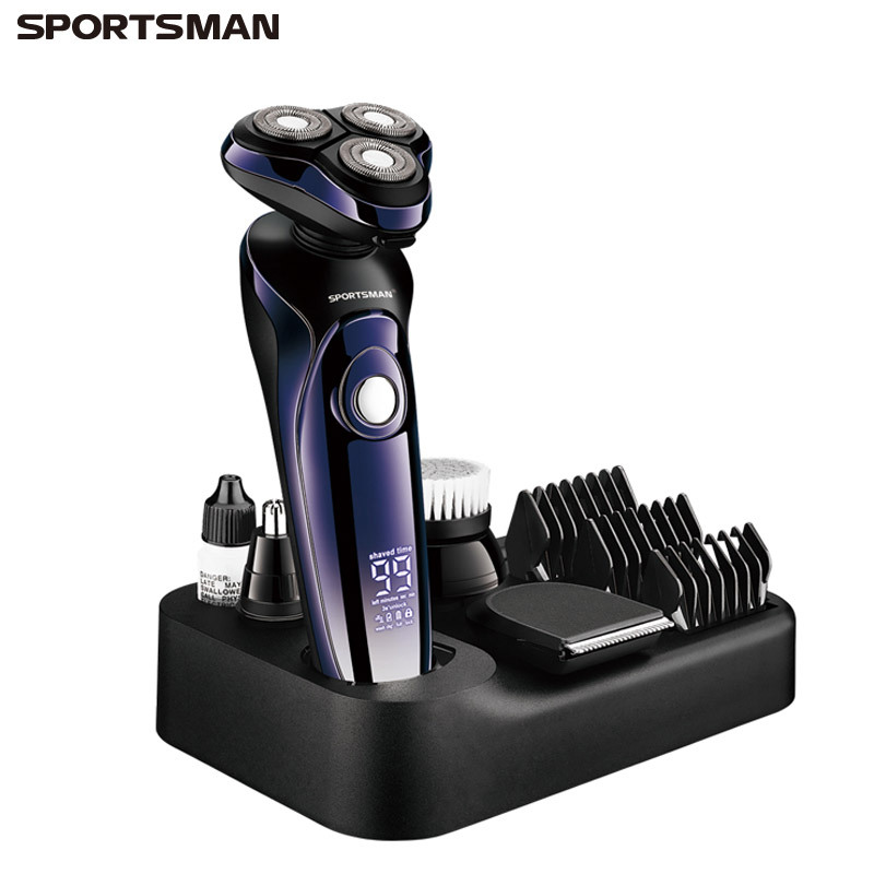 SPORTSMAN Electric Shaver Multifunctional Rechargeable Shaver Digital Display Battery Full Body Wash
