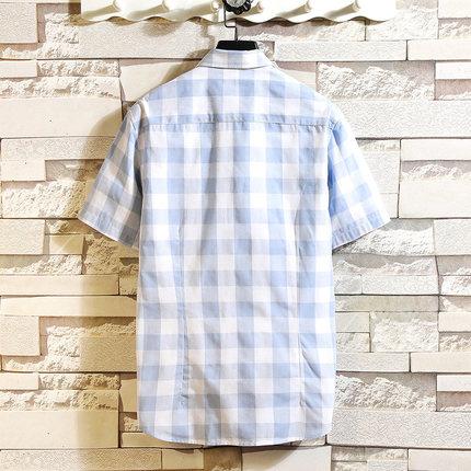 Áo Sơ-mi trẻ em  12-13-14-15-16-17, học sinh nam trung học cơ sở áo sơ mi kẻ sọc ngắn tay, quần áo c