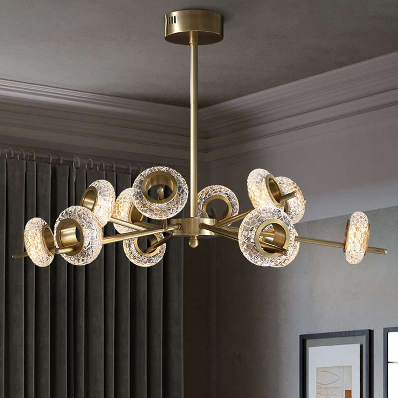 BLHM Nordic net red living room lamp post modern light luxury all copper crystal chandelier creative