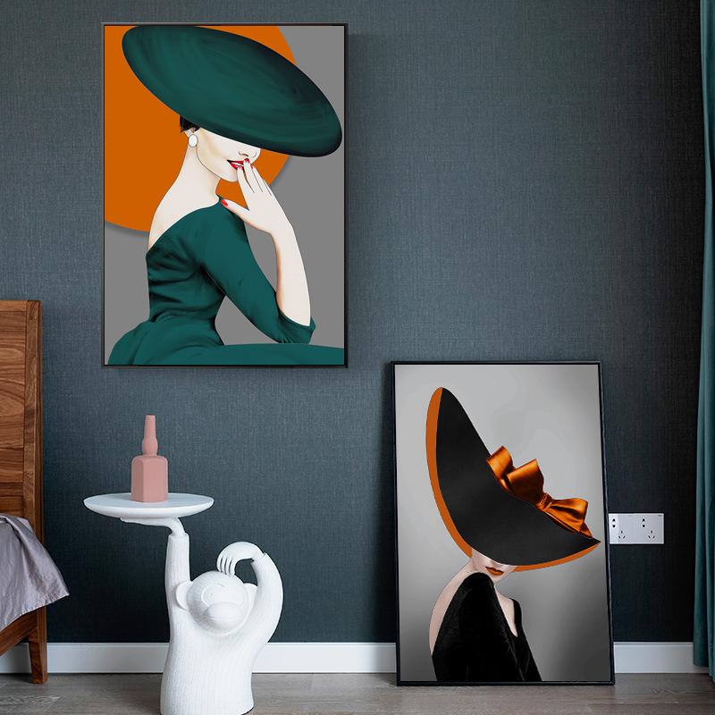 Soft light luxury and elegant hotel bar KTV decorative painting corridor bedroom living room porch p
