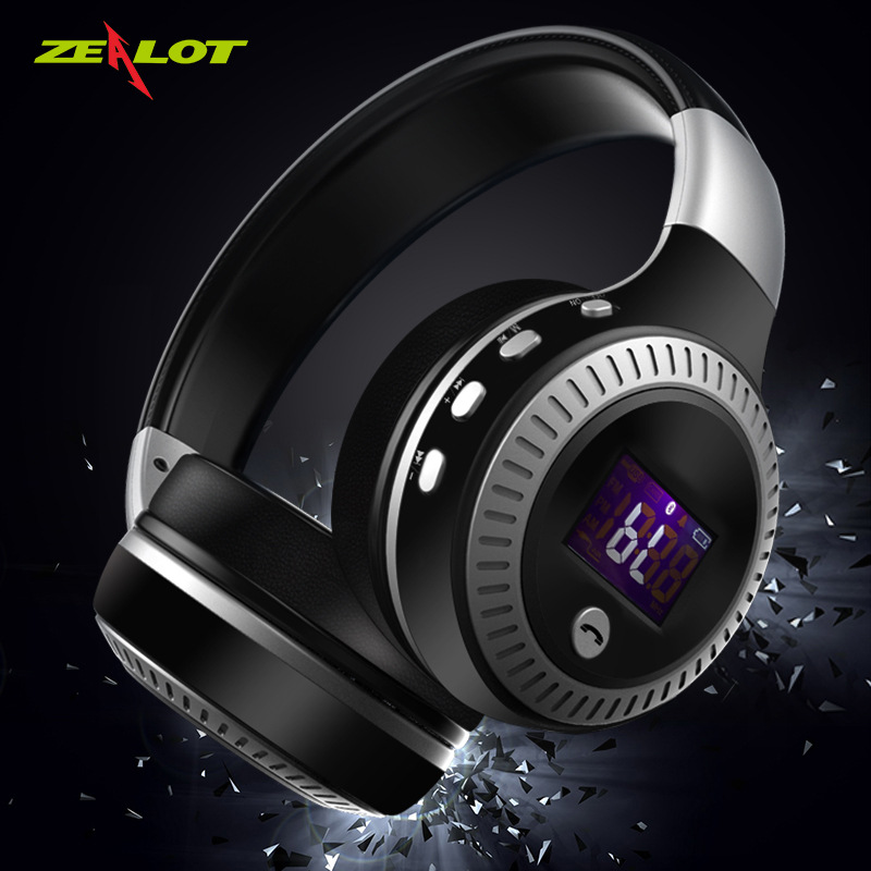 ZEALOT/ enthusiast B19 wireless headset bluetooth headset stereo card radio headset with screen