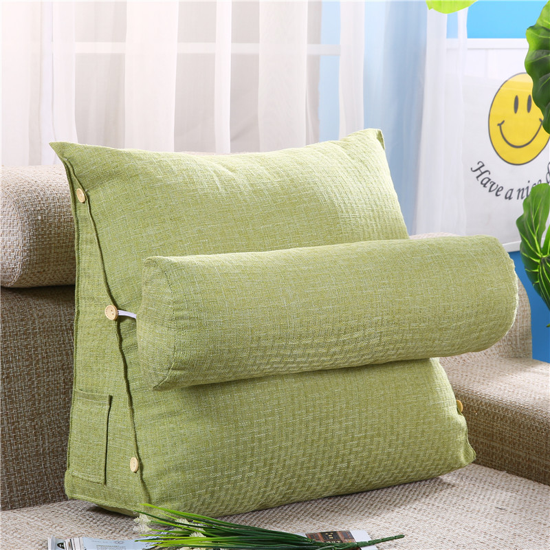 Custom pillow triangle cushion plain large pillow cotton and linen large backrest office sofa pillow