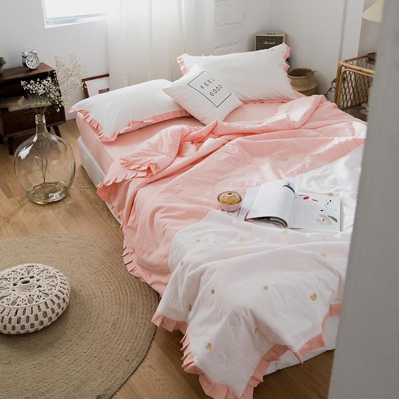 Bộ drap giường Bộ chăn ga gối cotton bốn mảnh, bộ thêu ren nhỏ, chăn mùa hè mềm mượt và thoải mái, c
