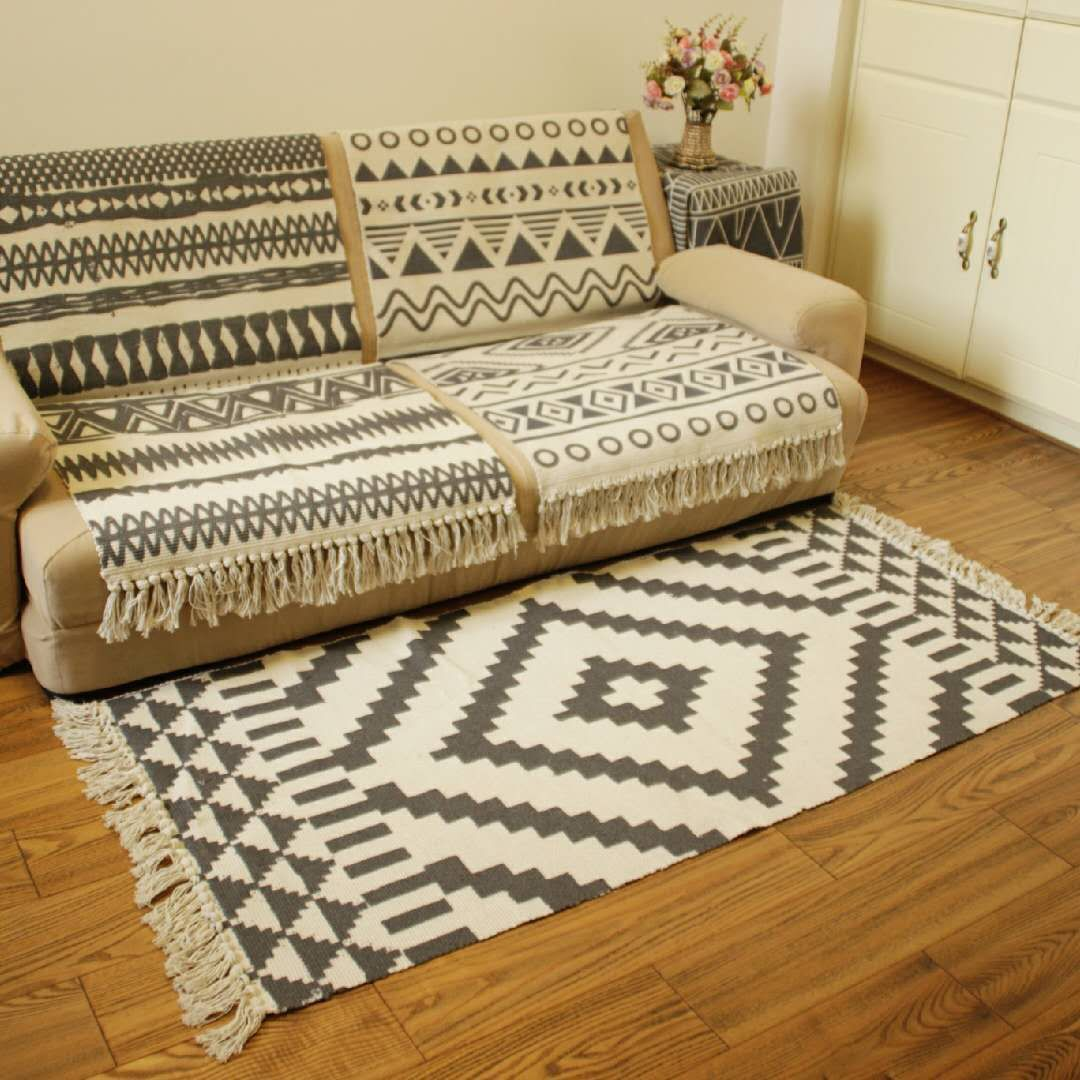 MANYI Nordic cotton and linen carpet home living room sofa coffee table blanket bedroom bedside stri