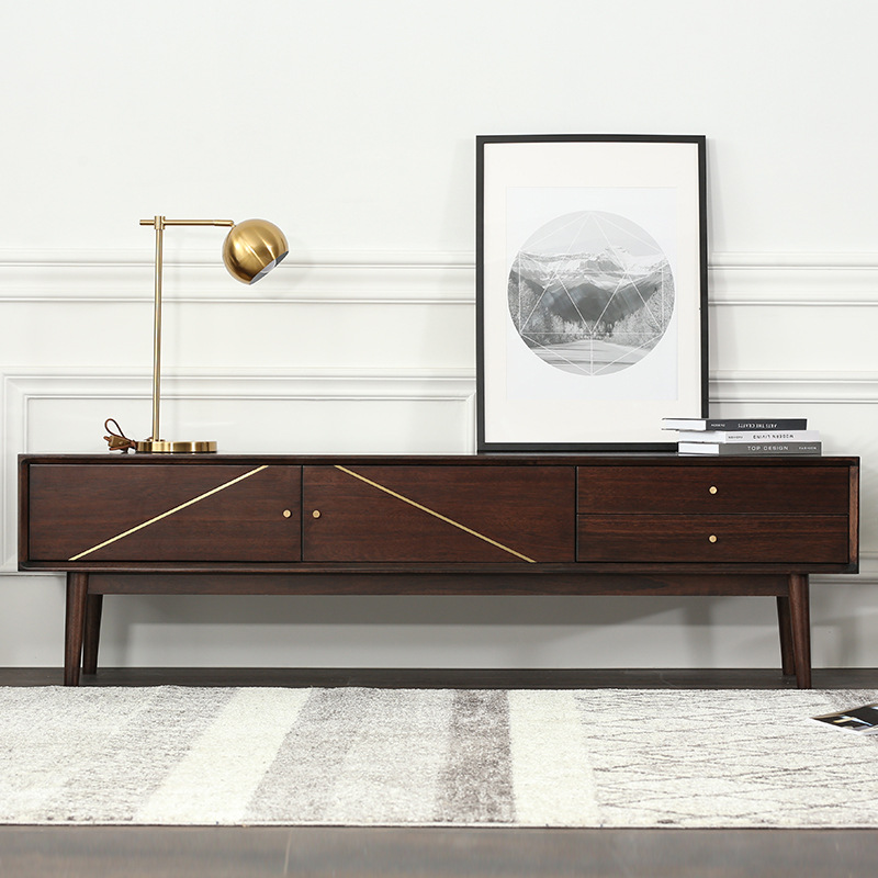 Gaomi Minghong Home Walnut Nordic Simple Wood Art Solid Wood TV Cabinet
