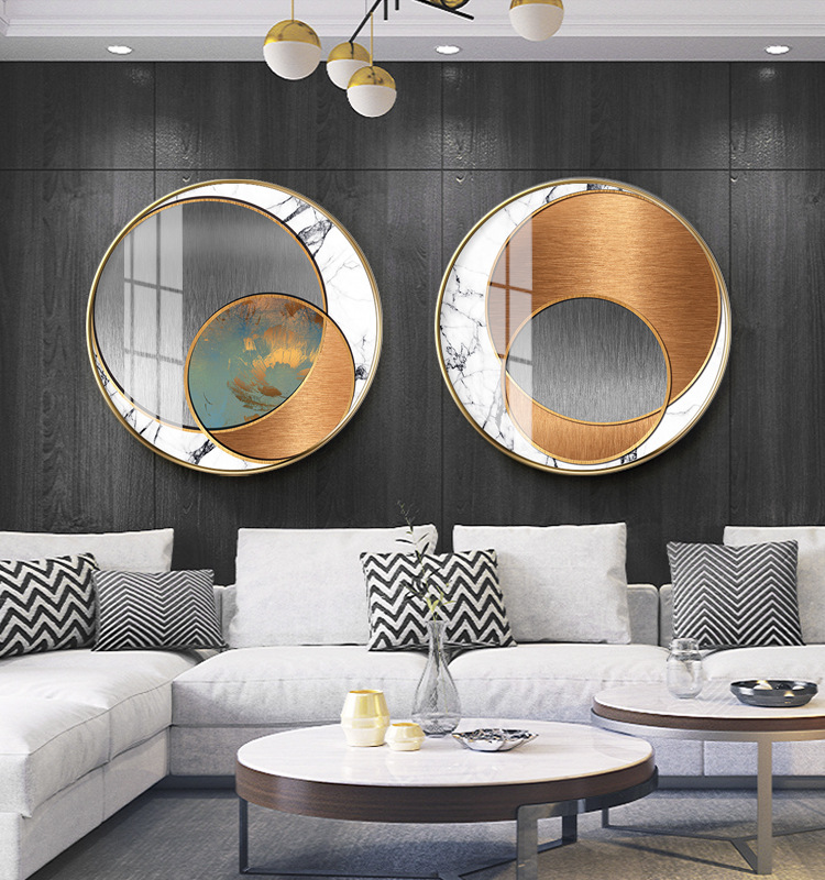 YIGOU Modern minimalist abstract light luxury crystal porcelain painting model room hotel porch roun