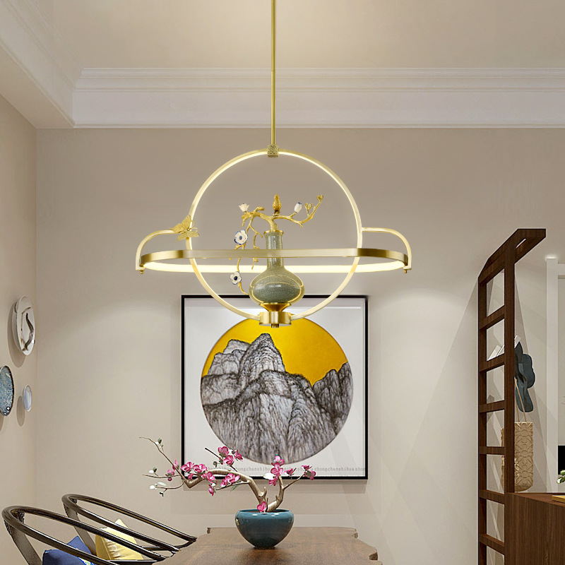 DILAN Chinese style full copper ceramic vase chandelier living room dining room study engineering ho