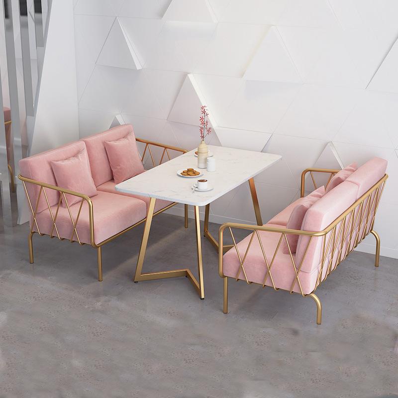 SHUJU Nordic ins style milk tea shop iron sofa net red cafe card seat restaurant hotel marble table